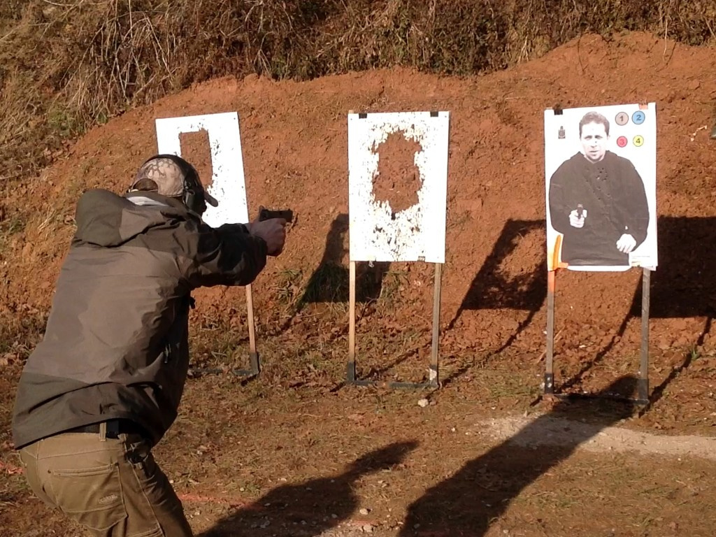 Instructor Sean, of National Shooters, engages his target during his shooting class